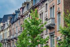 Klasyczni europejczyka domu przody w starej części Bruksela Obraz Stock