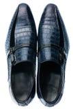 Klasyczni męscy błękitni rzemienni buty odizolowywający na bielu Fotografia Stock