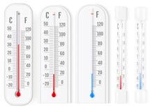 Klasyczni plenerowi, salowi termometry s i zdjęcie royalty free