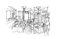 Klasyczni restauracyjni bistra w Erope ręce kreślą ilustrację ilustracji