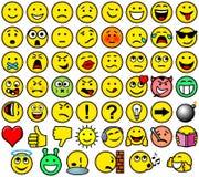 Klasyczni retro stylu 54 smileys ilustracja wektor