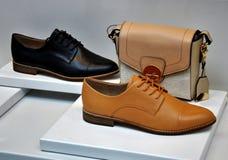 Klasyczni rzemienni buty i mała torebka Fotografia Royalty Free