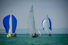 Klasyczny żeglowanie łodzi ścigać się przy regatta przy jeziornym constance Zdjęcie Stock