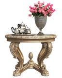 Klasyczny barok rzeźbiący stół z bukietem róże i kawy srebro ustawia odosobnionego na białym tle ilustracja wektor