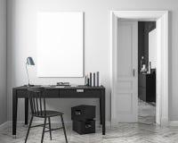 Klasyczny biały miejsca pracy wnętrza egzamin próbny up z stołem, krzesło, drzwi ilustracja 3 d, Fotografia Royalty Free