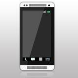 Klasyczny czarny i biały smartphone na szarym gradientowym tle Obrazy Royalty Free