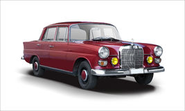 Klasyczny czerwony Mercedes-Benz odizolowywający na bielu Zdjęcia Stock