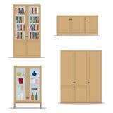 Klasyczny drewniany Wewnętrzny ustawiający z odosobnioną spiżarnią, półka na książki, garderobą i gabinetem, Obraz Royalty Free