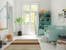 Klasyczny dziecko pokoju koloru 3D biały rendering Zdjęcia Royalty Free