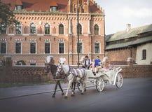 Klasyczny europejski pejzaż miejski stary grodzki Krakow, Polska fotografia stock