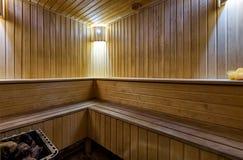 Klasyczny Finlandia sauna wnętrze zdjęcia royalty free