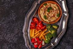 Klasyczny hummus na talerzu Fotografia Royalty Free