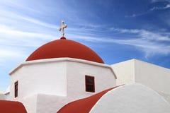Klasyczny kościół Mykonos wyspa Obraz Royalty Free