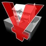 Klasyczny kolonisty dom i YEN/YUAN znak Obraz Royalty Free