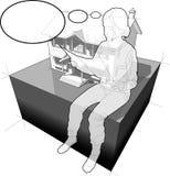Klasyczny kolonisty dom, kobieta z myślą i gulgoczemy Obraz Stock