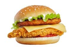 Klasyczny kurczaka hamburger Odizolowywający Zdjęcie Royalty Free