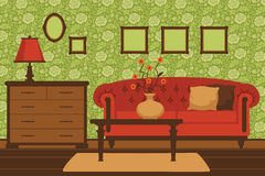 Klasyczny żywy izbowy wnętrze Obrazy Stock