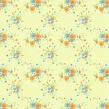 Klasyczny rocznika kwiatu wzór w Miękkim Żółtym tle Obraz Stock