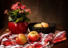 Klasyczny rocznika wci?? ?ycie z bukietem kwiaty i jab?ka obrazy stock