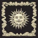 Klasyczny słońce z chmury ramą ilustracja wektor