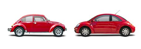 Klasyczny samochód vs nowy samochód Zdjęcia Stock