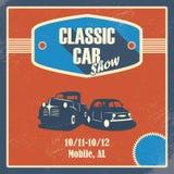 Klasyczny samochodowego przedstawienia plakat Stary retro samochód Zdjęcia Royalty Free