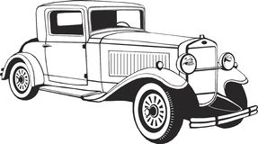 Klasyczny samochodowy coupe, wektorowa sztuka, monogram, odizolowywający, czerń, grafika, wektorowa ilustracja, logo, klamerki sz ilustracji