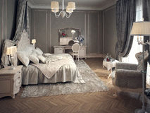 Klasyczny sypialni wnętrze Zdjęcia Royalty Free