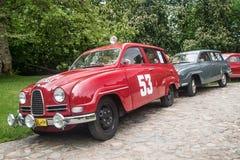 Klasyczny Szwedzki samochodowy Saab 96 i 95 2T Zdjęcie Royalty Free