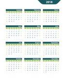 Klasyczny wektoru kalendarz 2018 Obraz Stock