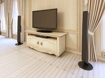 Klasyczny wezgłowie stół dla TV jednostki w luksusowym klasycznym łóżku Zdjęcie Royalty Free