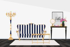 Klasyczny wnętrze żywy pokój z pasiastą kanapą również zwrócić corel ilustracji wektora zdjęcie royalty free