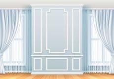 klasyczny wnętrze Biel ściana z bagiety okno i ramami Domowego pokoju rocznika wektoru dekoracja royalty ilustracja