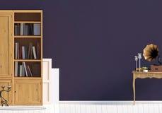 Klasyczny wnętrze z bookcase ścienny egzamin próbny up Obrazy Stock