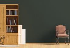 Klasyczny wnętrze z bookcase i krzesłem ścienny egzamin próbny up 3d illus Obrazy Royalty Free