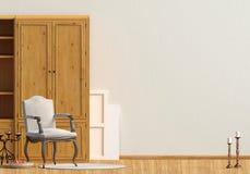 Klasyczny wnętrze z garderobą i krzesłem ścienny egzamin próbny up 3d illus Obrazy Royalty Free