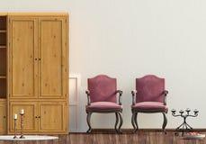 Klasyczny wnętrze z garderobą i krzesłem ścienny egzamin próbny up 3d illus Obrazy Stock