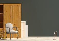 Klasyczny wnętrze z garderobą i krzesłem ścienny egzamin próbny up 3d illus Obraz Royalty Free