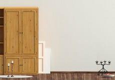 Klasyczny wnętrze z garderobą i lampą ścienny egzamin próbny up 3d illust Obrazy Stock