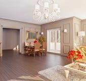 klasyczny wnętrze 3d Zdjęcia Royalty Free