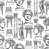 Klasyczny wzór Wenus De Milo i kolumny royalty ilustracja