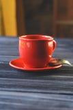 Klasyk dwoista kawa espresso na drewno stole Zdjęcia Stock