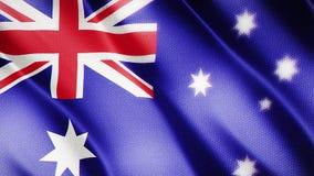 Klasyk flaga Gładka Istny wideo wielki Australia flaga dmuchanie w wiatrze zdjęcie wideo