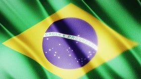 Klasyk flaga Gładka Istny wideo wielki Brazylia flaga dmuchanie w wiatrze zdjęcie wideo