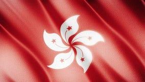 Klasyk flaga Gładka Istny wideo wielki Hongkong flaga dmuchanie w wiatrze zbiory wideo