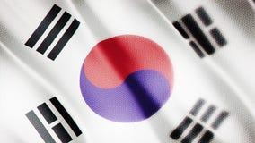 Klasyk flaga Gładka Istny wideo wielki Korea flaga dmuchanie w wiatrze zbiory