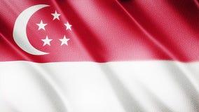 Klasyk flaga Gładka Istny wideo wielki Singapur flaga dmuchanie w wiatrze zbiory