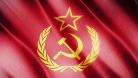 Klasyk flaga Gładka Istny wideo wielki Solviet flaga dmuchanie w wiatrze zbiory
