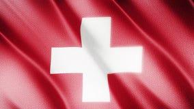 Klasyk flaga Gładka Istny wideo wielki Szwajcaria flaga dmuchanie w wiatrze zbiory wideo