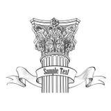 Klasyk stylowa szpaltowa etykietka Arhitectural znak iosolated royalty ilustracja